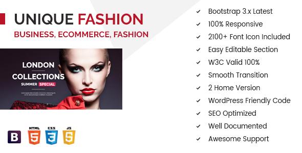 Unique Fashion Multipurpose eCommerce HTML Template