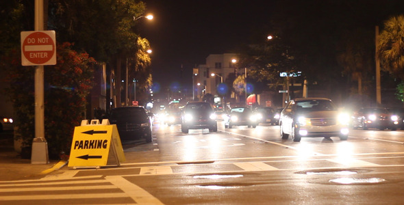 VideoHive Cars Driving Down City Street At Night 6 1929155