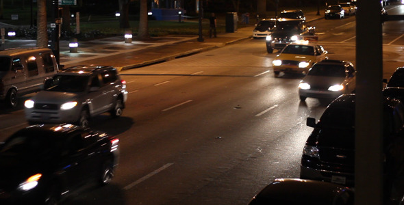 VideoHive Cars Driving Down City Street At Night 7 1929579