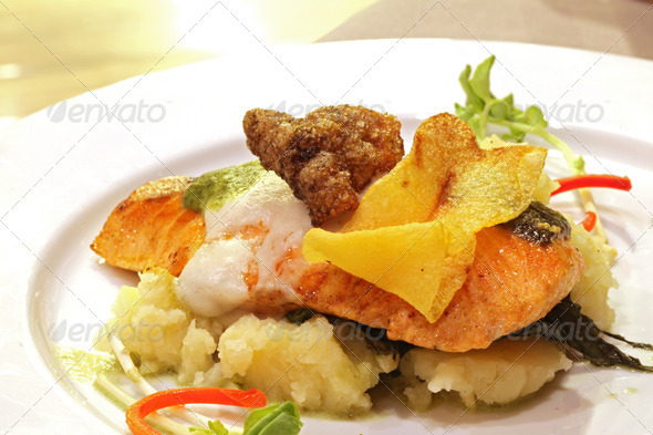 Grilled Salmon Fillet Steak - Stock Photo - Images