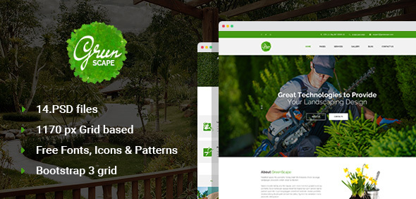 Greenscape – Lawn & Garden Landscaping PSD template