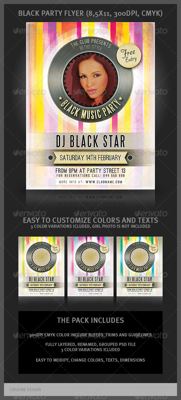 Black Music Party Flyer - Clubs & Parties Events