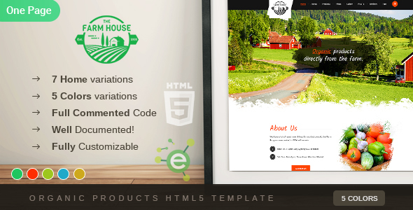 the farm house one page organic food fruit and vegetables products html5 template by envalab. Black Bedroom Furniture Sets. Home Design Ideas