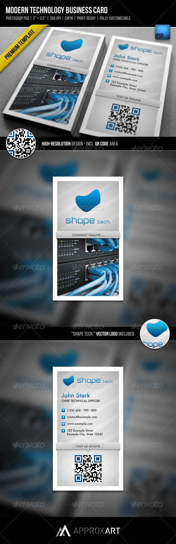Modern Technology Business Card - Corporate Business Cards