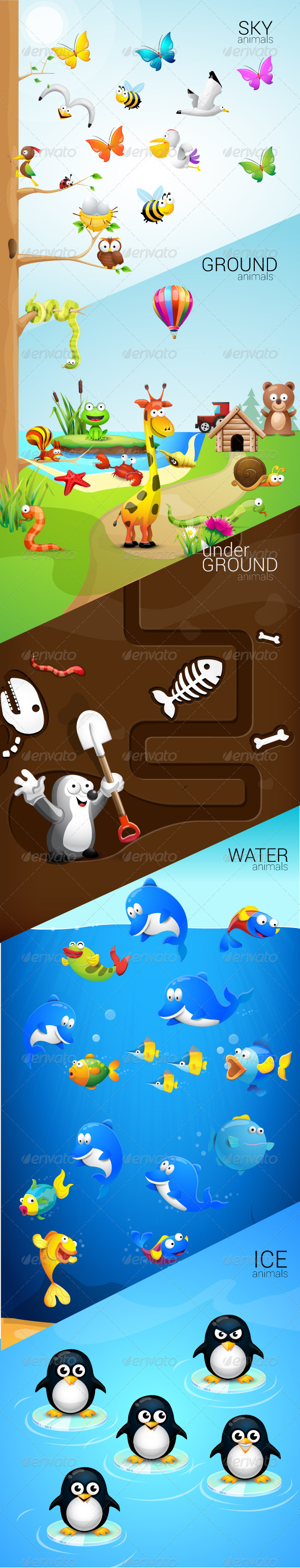 Graphic River Animals Set Vectors -  Characters  Animals 1924172