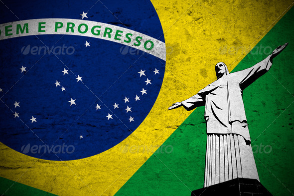 Brazilian grunge flag - Stock Photo - Images