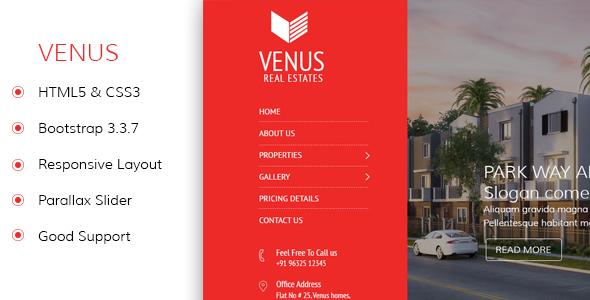 Venus – Real Estate Responsvie HTML Template
