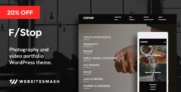 FStop – Photography & Video Portfolio WordPress Theme