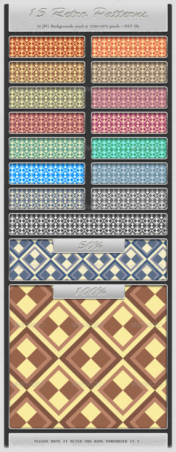 15 Retro Patterns - Abstract Textures / Fills / Patterns