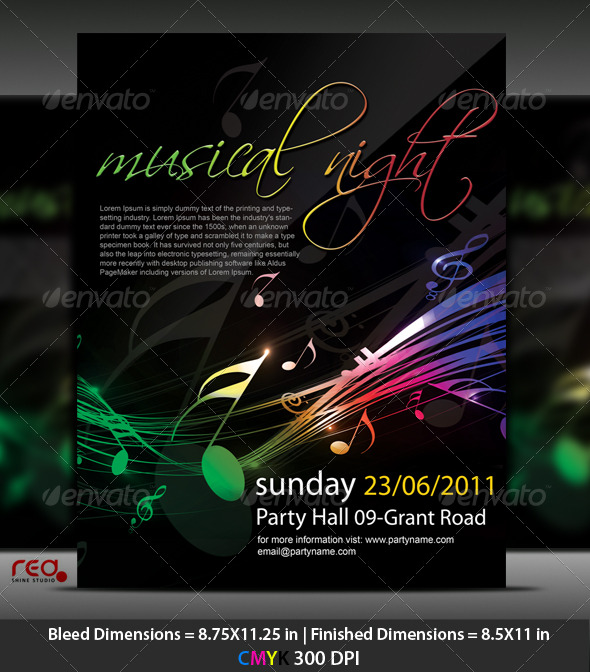 GraphicRiver Music Party Poster Flyer Template 225563