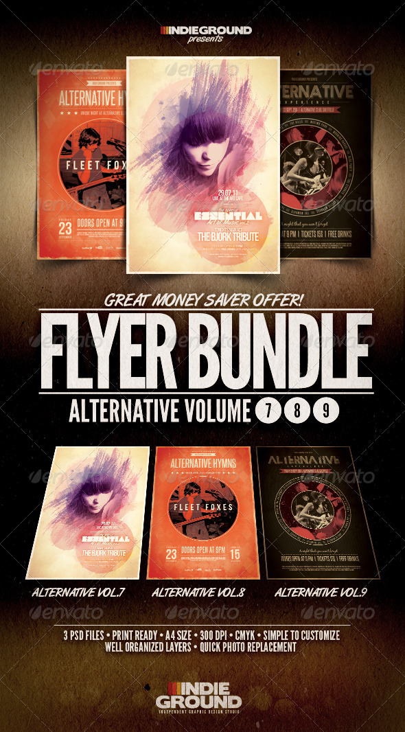 Alternative Flyer/Poster Bundle Vol. 7-9 - Clubs & Parties Events