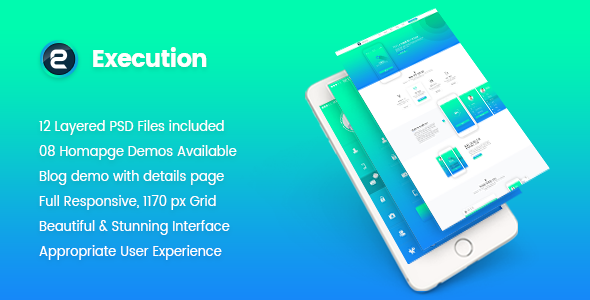 Execution – Material App Landing & Product Showcase PSD Template