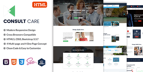 Consult Care – Business Consulting , Finance & Professional Services HTML Template