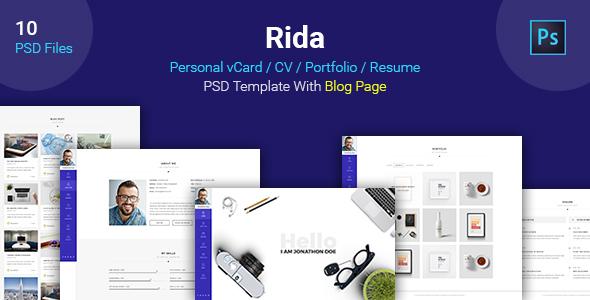 Rida – vCard / CV / Portfolio / Resume PSD Template