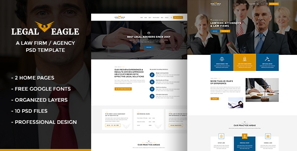 Legal Eagle –  Attorneys, Lawyers, Legal Firm Agency PSD Template