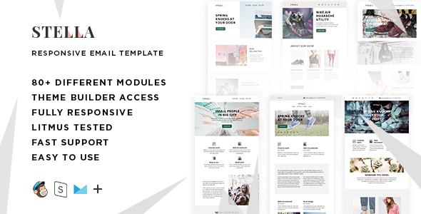 Stella – 80+ Modules – Responsive Email + StampReady Builder & Mailchimp Editor