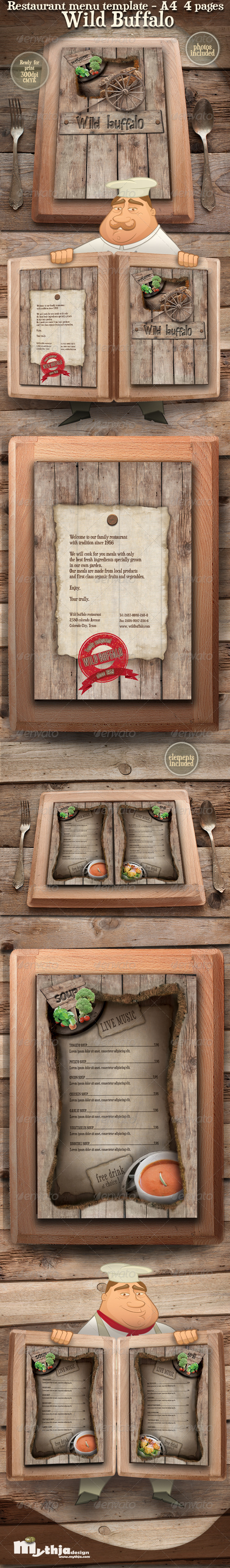 GraphicRiver Restaurant Menu template Wild Buffalo 1582149