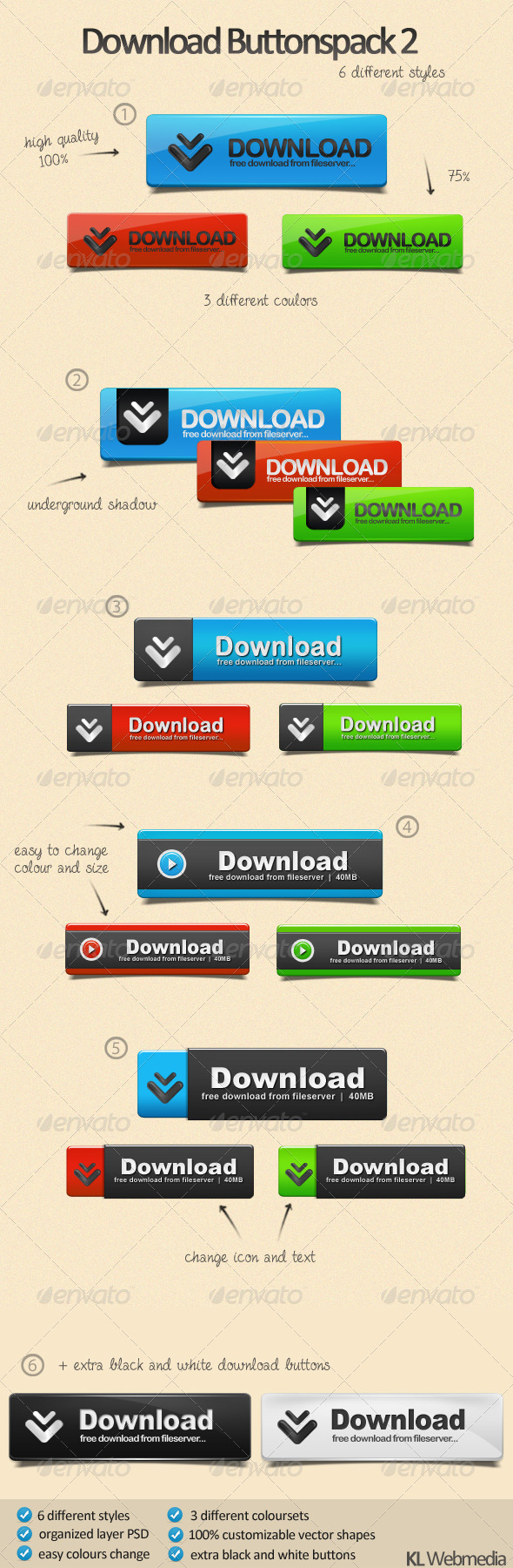 GraphicRiver Download Buttons Pack 1929150