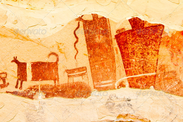 Barrier Canyon Style Art Panel - Stock Photo - Images