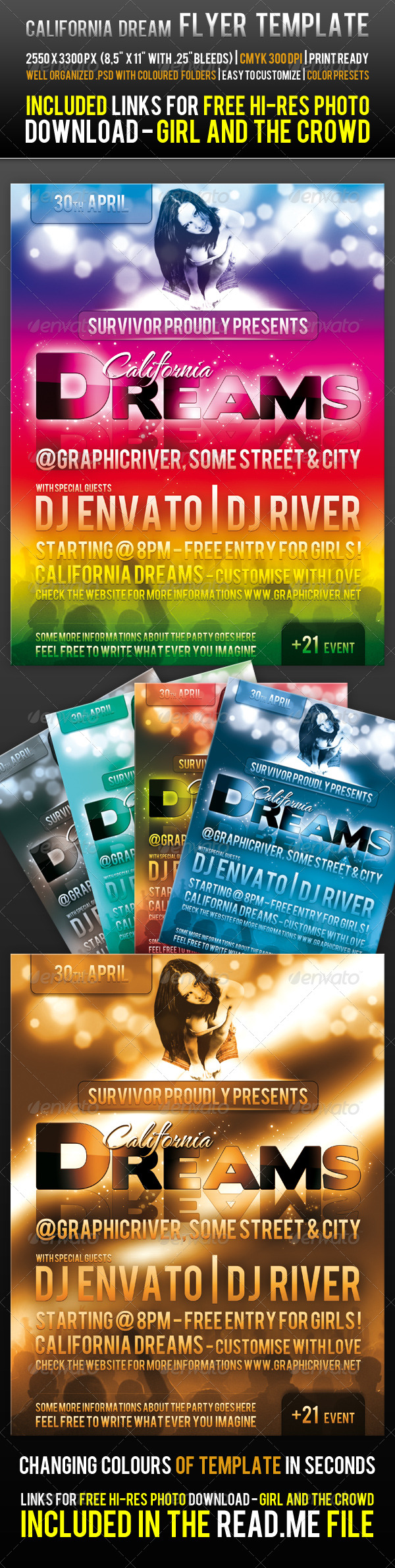 Print Templates : California Dream Flyer Template GraphicRiver 226198 - Flyers Events Clubs & Parties