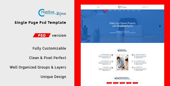 Creative Zone – Single Page PSD Template