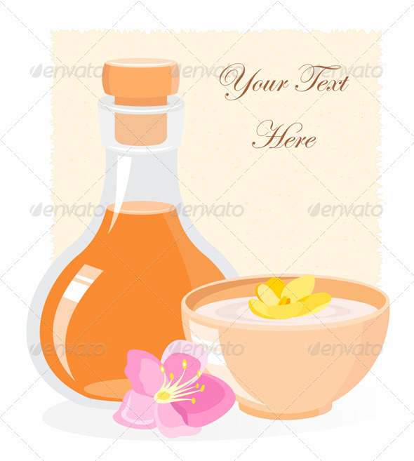 SPA Icon With Oil Bottle And Flowers - Health/Medicine Conceptual