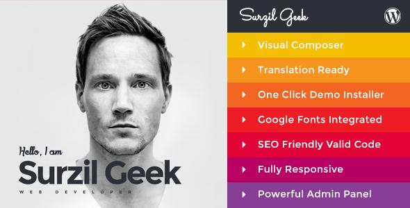 Geek - Personal Resume & Portfolio Wordpress Theme By Themeregion