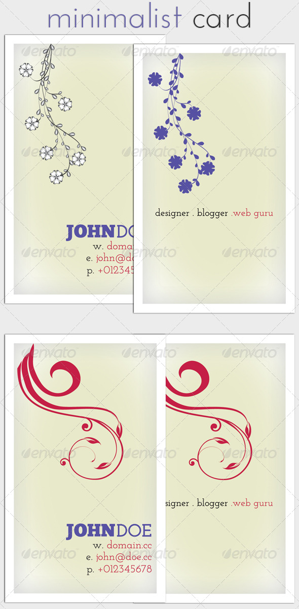 Minimalist Business Card GraphicRiver - Print Templates -  Business Cards  Corporate 226333
