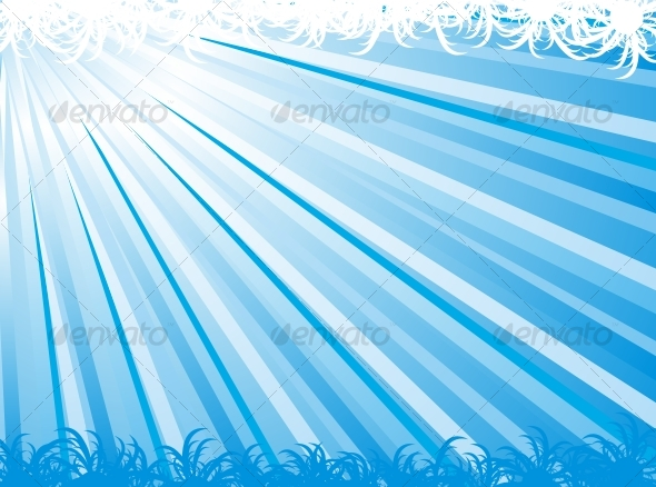 Blue abstract ray vector background - Backgrounds Decorative