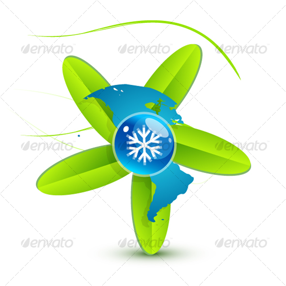 Green leaf symbol with snowflake and world map - Nature Conceptual