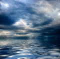 dark cloudy stormy sky with clouds and waves in the sea - PhotoDune Item for Sale