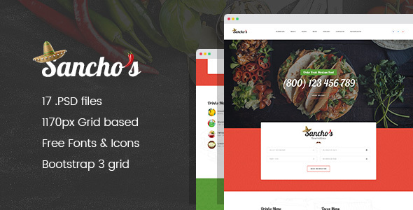 Sancho's – Mexican Food Restaurant and Delivery Service PSD Template
