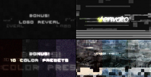 After Effects Project - VideoHive Digital Glitch effects and 10 color prese ...