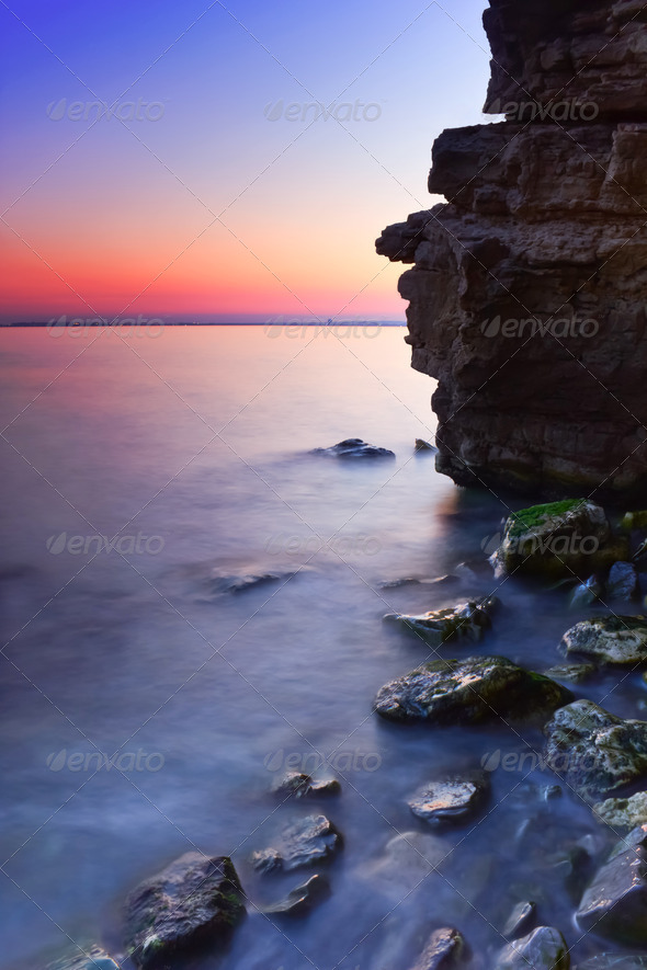 Rocky Seashore at Sunset - Stock Photo - Images