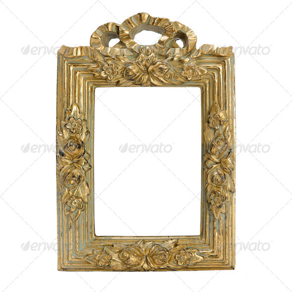 antique frame with woman's portrait . Isolated image. - Stock Photo - Images