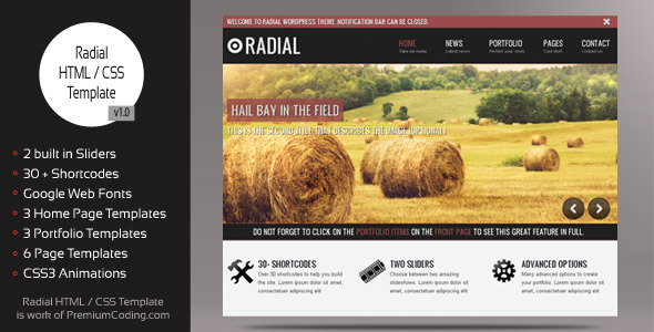 Radial - Blog HTML / CSS Website Template