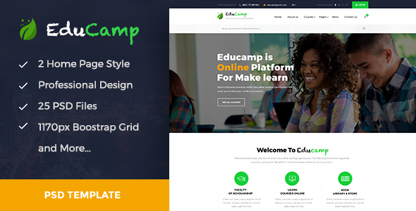 EduCamp – Education & Online Learning PSD Template
