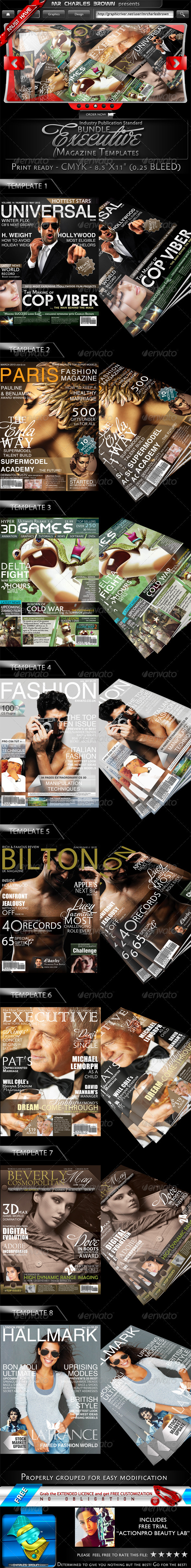 Executive Magazine Cover Templates Bundle - Magazines Print Templates