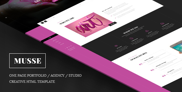 Musse – One Page Portfolio / Agency / Studio Creative Html Template