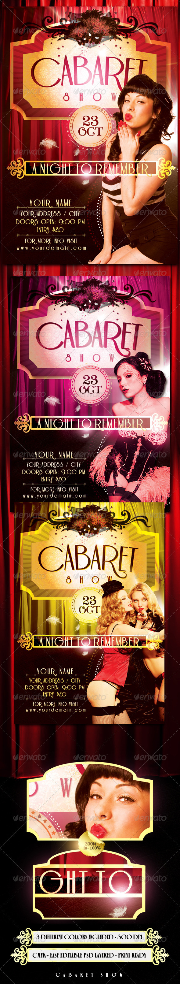 Cabaret Show Flyer Template - Clubs & Parties Events