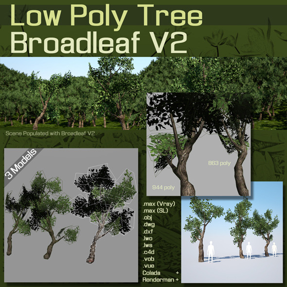 Low Poly Tree :  Broadleaf V2 - 3DOcean Item for Sale