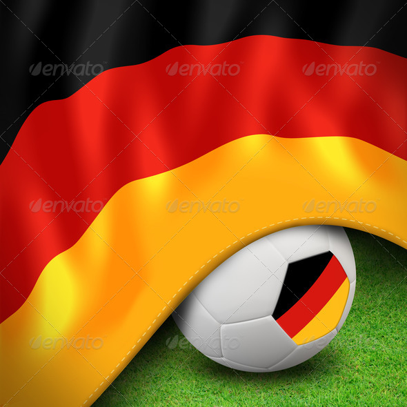 Soccer ball and flag euro Germany - Stock Photo - Images