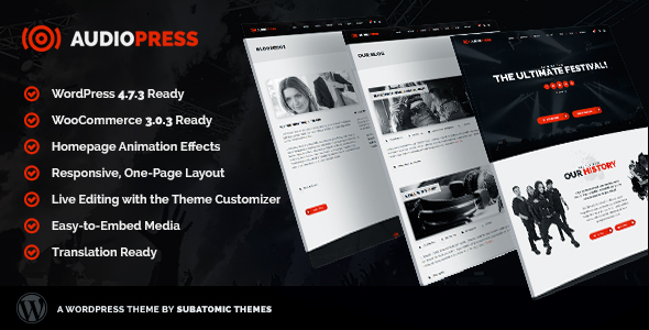 Audiopress | A WordPress Theme for Music Festivals and Bands