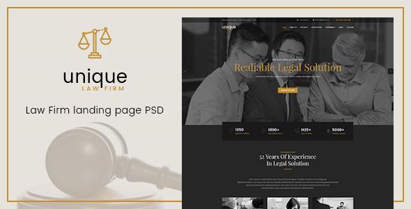 Unique – Law Firm Landing Page PSD Template