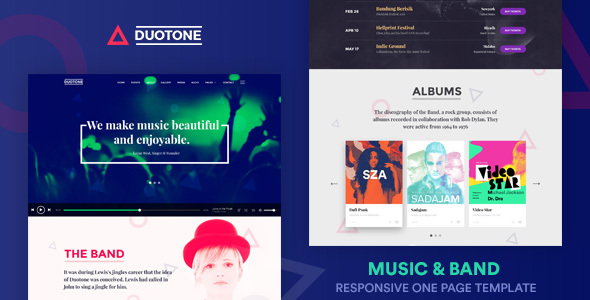 Music & Band Responsive Website Template – Duotone