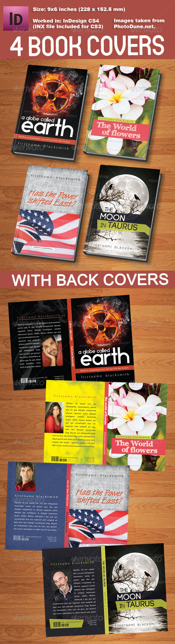 4 Book Cover Templates - Miscellaneous Print Templates