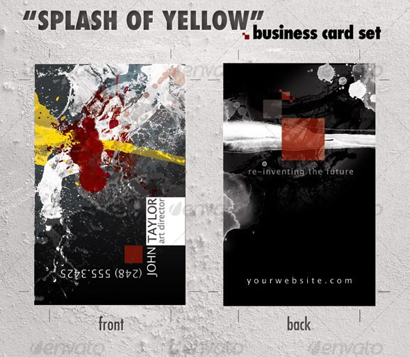 Business card template &quot;Splash of Yellow&quot; - Creative Business Cards