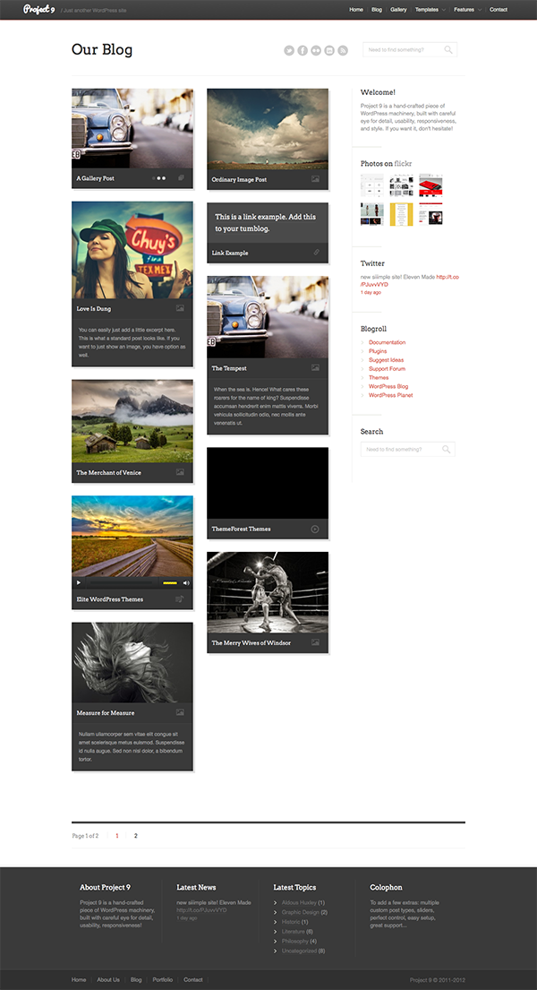 Project 9 - Creative WordPress Theme