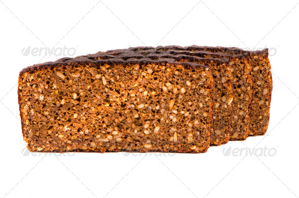 isolated ecological five grains brown bread - Stock Photo - Images