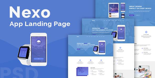 Nexo – App Landing PSD Template
